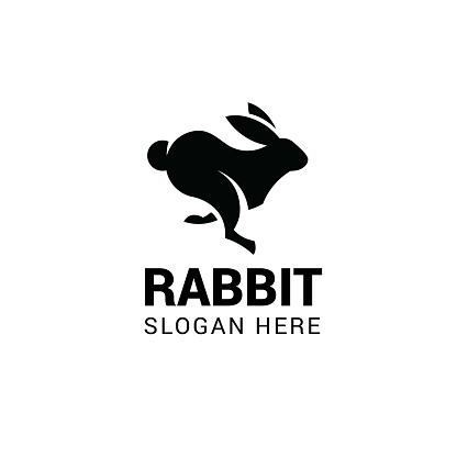 Running rabbit vector template. Design element for logo, label, emblem, sign and symbol