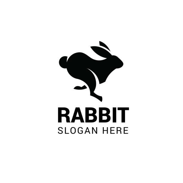 laufende kaninchen vektor vorlage. gestaltungselement für logo, label, wahrzeichen, zeichen und symbol - kaninchen stock-grafiken, -clipart, -cartoons und -symbole