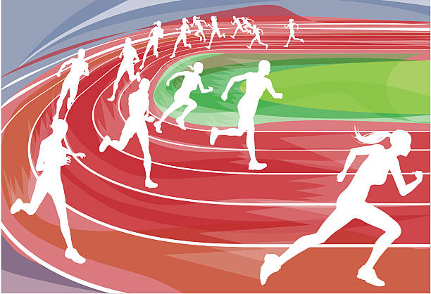 Running Race on Track vector art illustration