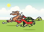 A turtle and a rabbit are having a running race. A high rez jpeg & ai. file come with this image.