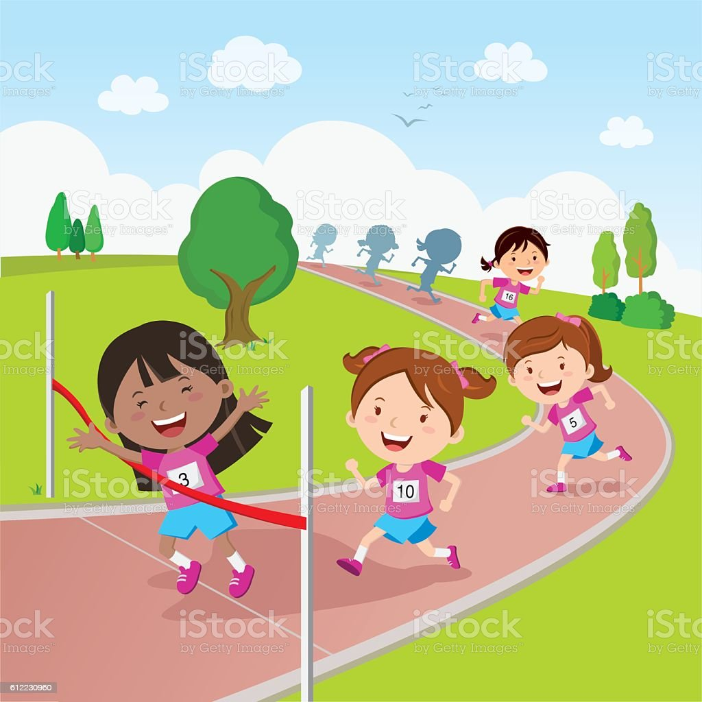 Running race vector art illustration
