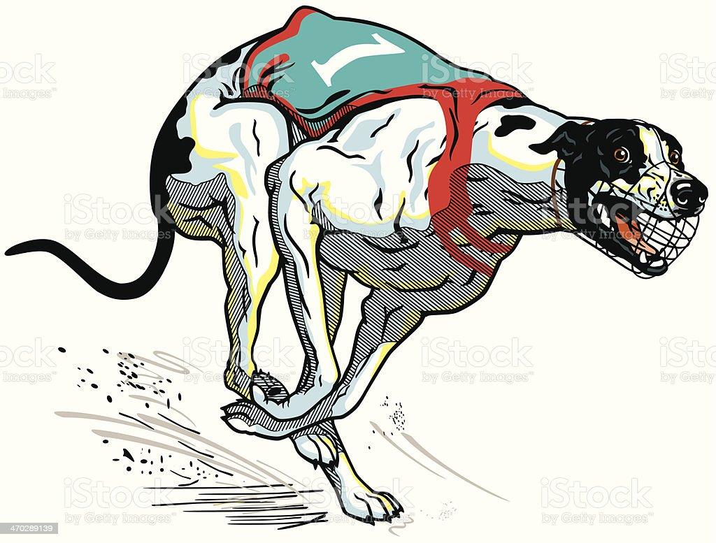 running racing dog vector art illustration