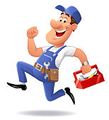 Vector illustration of a running repairman, mechanic or plumber with a red toolbox in his hand, looking at the camera, isolated on white.