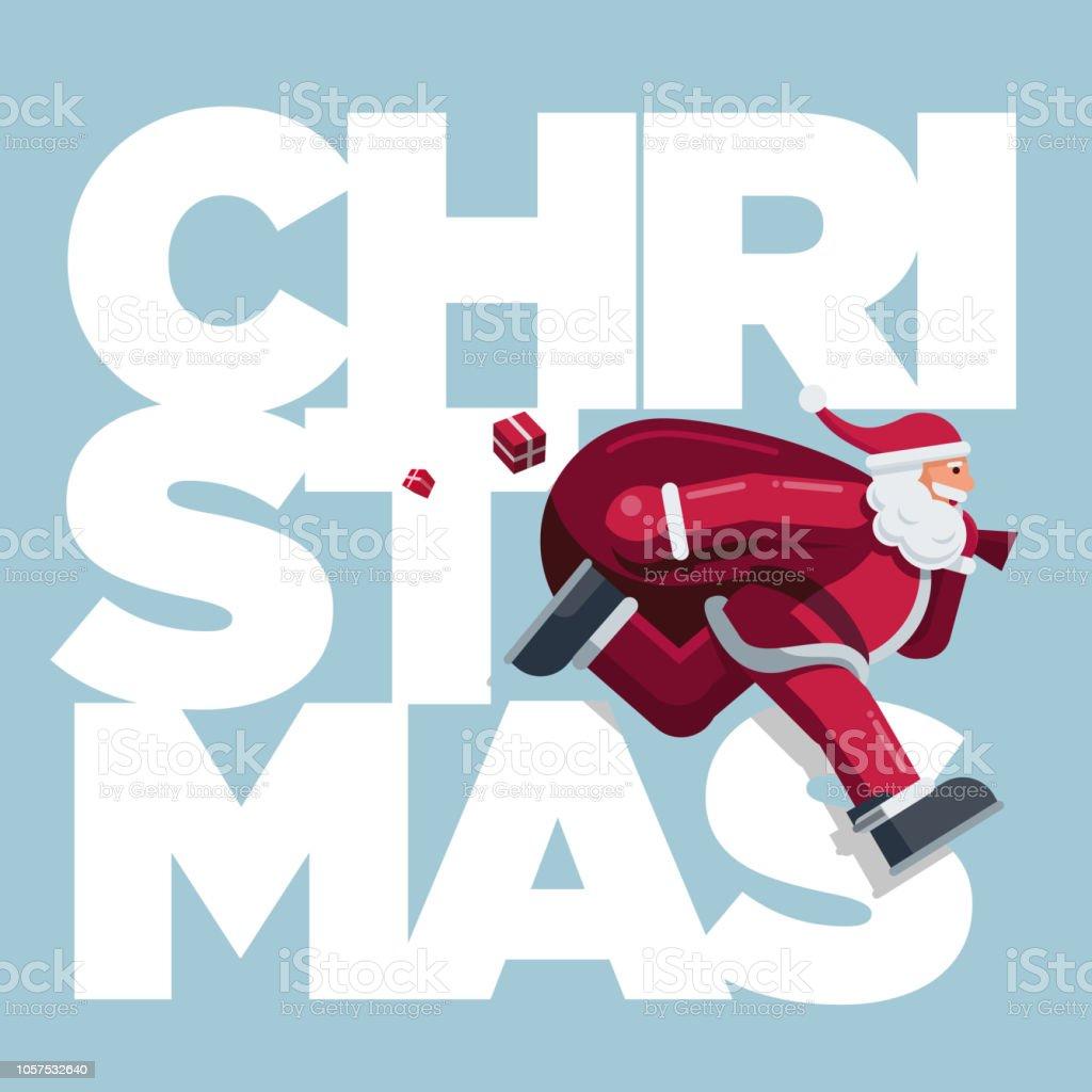 Running Santa Claus Christmas Card vector art illustration