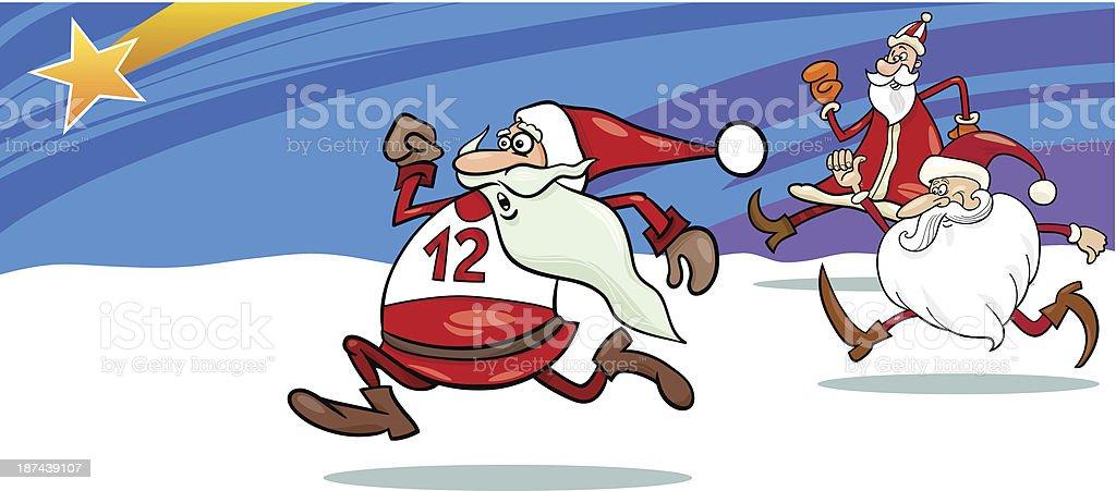 running santa greeting card cartoon vector art illustration