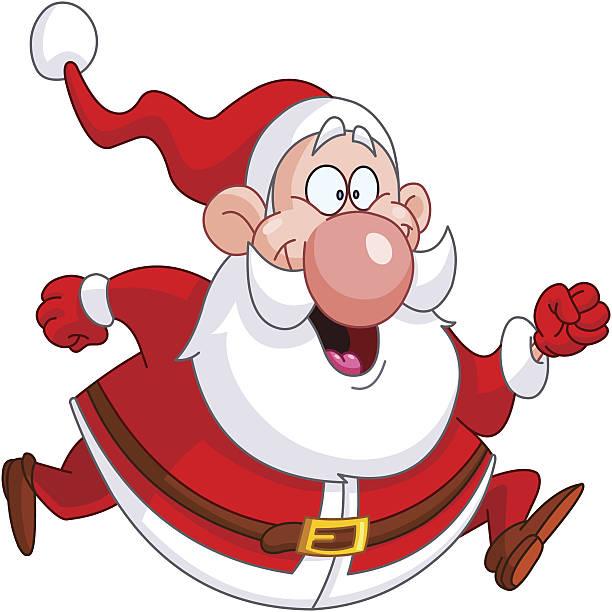 running santa - old man smile silhouette stock illustrations