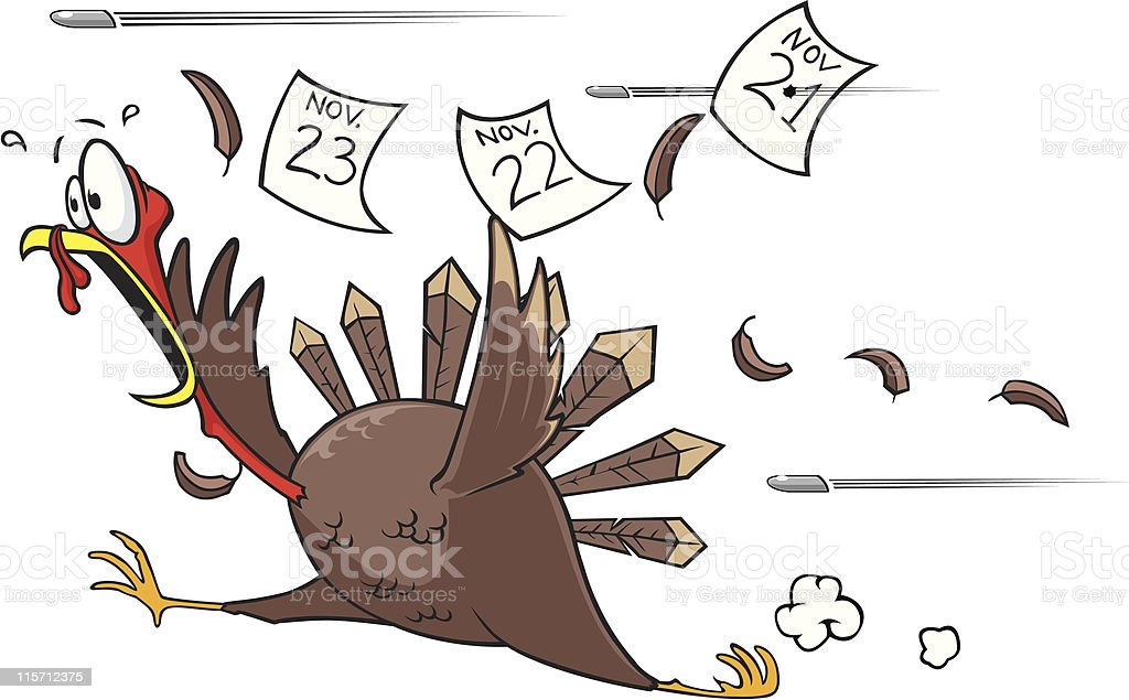 royalty free running scared turkey clip art vector images rh istockphoto com Animated Turkey Running free scared turkey clipart