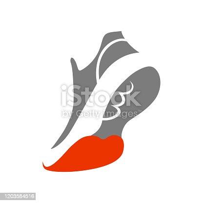 Running shoe symbol on white symbol on white backdrop.