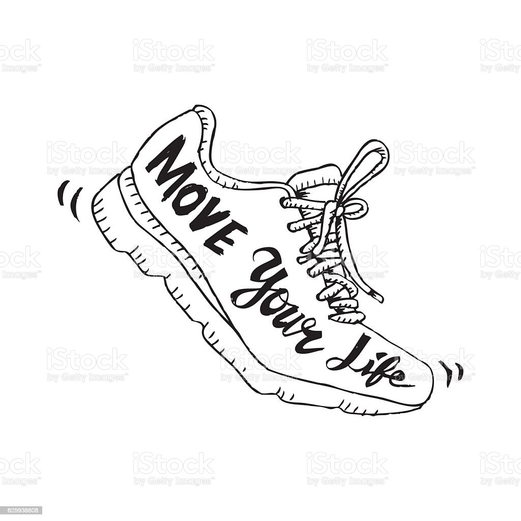 Running shoe symbol - move your life. Sketchy style. - Illustration vectorielle