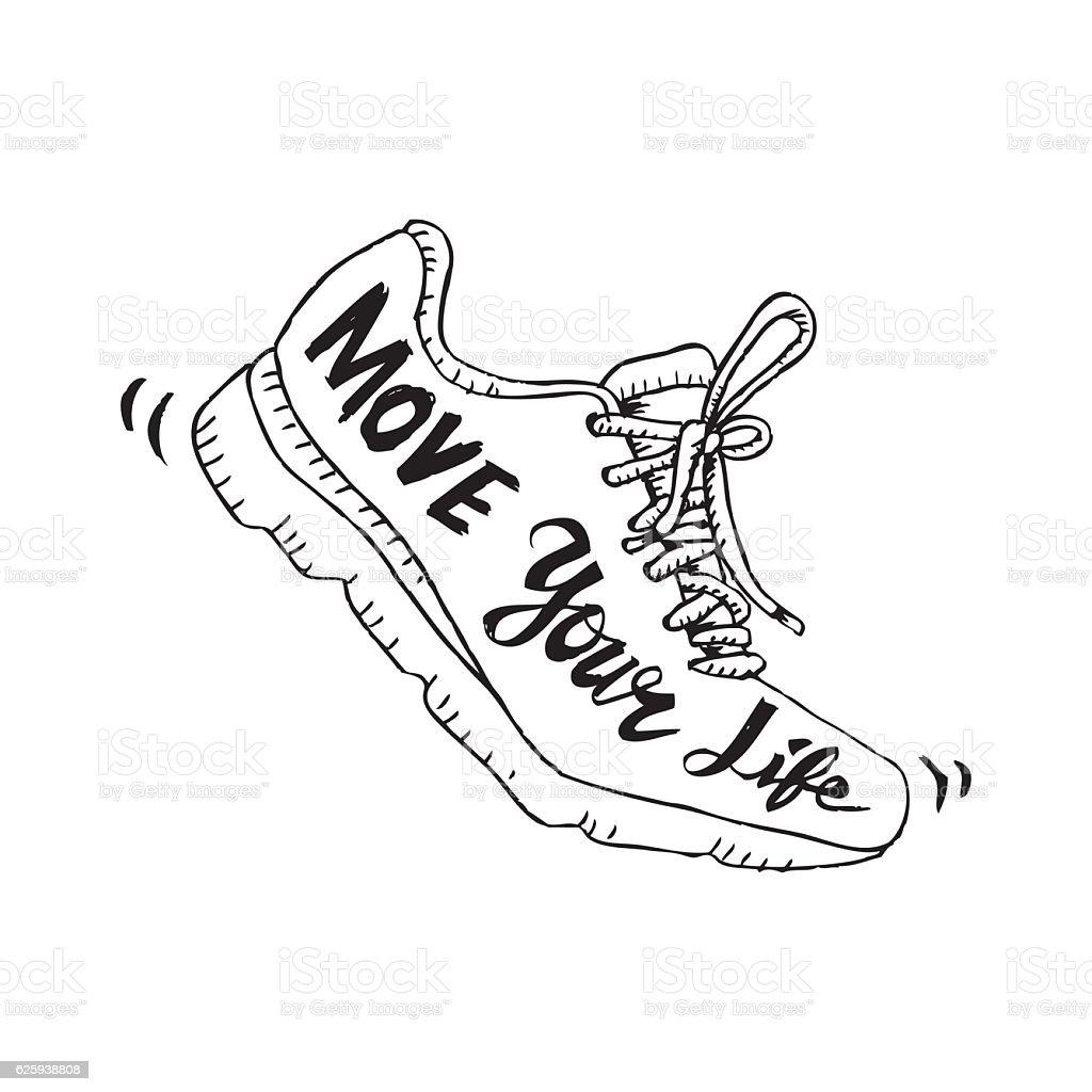 Running shoe symbol - move your life. Sketchy style. - ilustração de arte em vetor