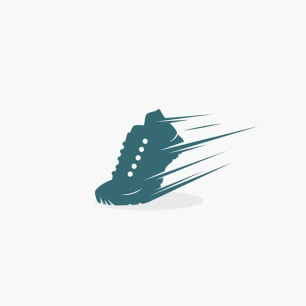 stockillustraties, clipart, cartoons en iconen met loopschoen symbool-vector illustratie - running shoes