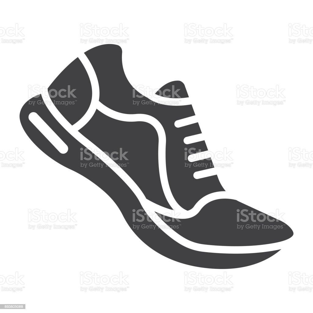 ランニング シューズ グリフ アイコン、フィットネス、スポーツ、ジム記号ベクトル グラフィック、eps 10、白地の固体パターン。 ベクターアートイラスト
