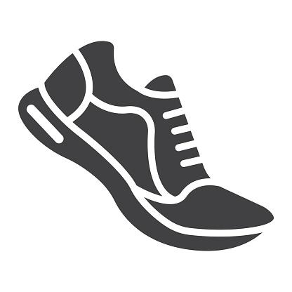 跑步鞋字形圖示 健身和運動 健身房標誌向量圖形 一個白色背景上的固體圖案 Eps 10向量圖形及更多互聯網圖片