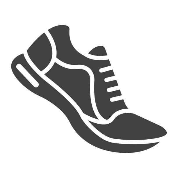 ilustraciones, imágenes clip art, dibujos animados e iconos de stock de icono de glifo de zapatos para correr, fitness y deporte, gimnasio signo vector graphics, un patrón sólido sobre un fondo blanco, eps 10. - íconos deportivos