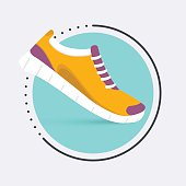 Running shoes icon.Shoes for training,  sneaker isolated on blue background. Flat design illustration.