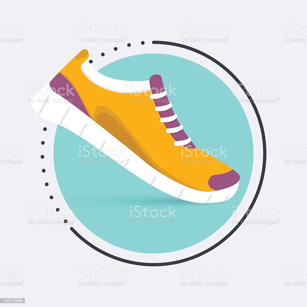 Running shoes icon.Shoes for training,  sneaker isolated on blue vector art illustration