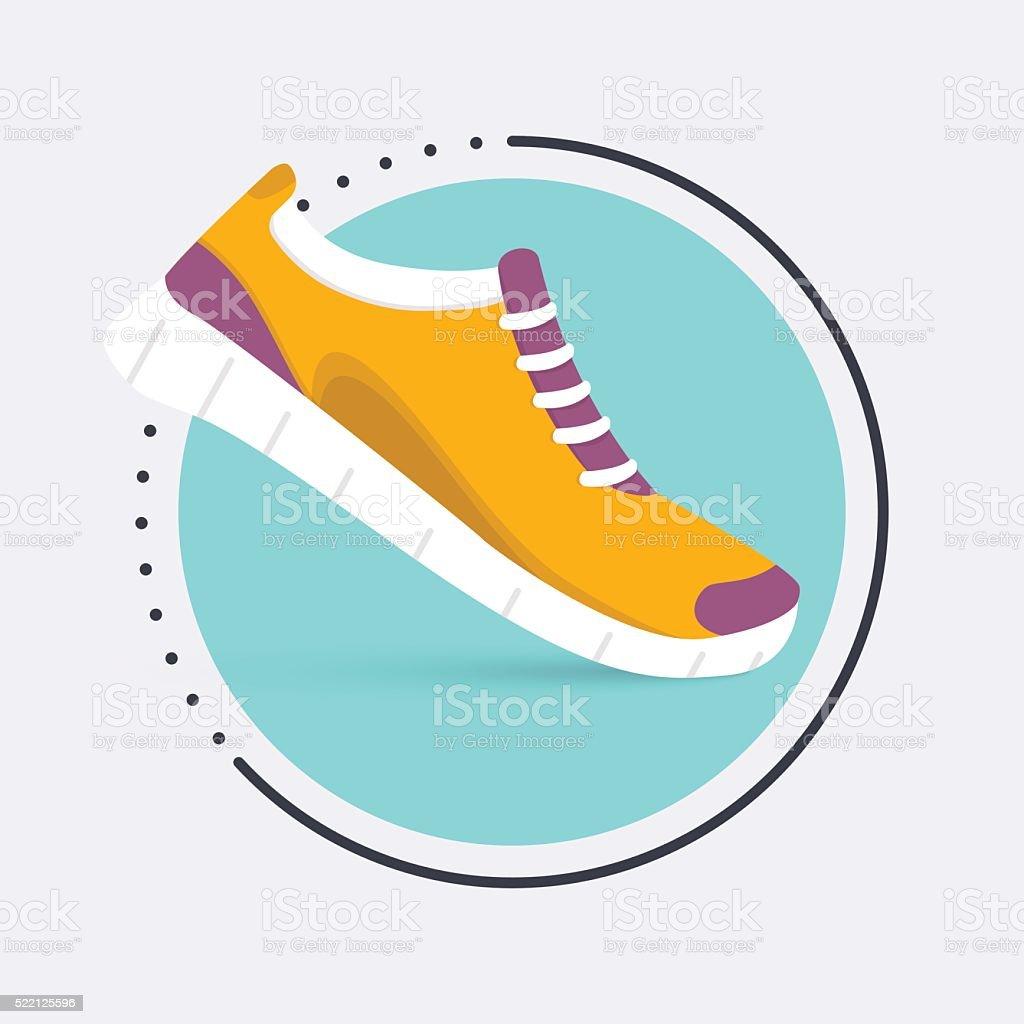 Calçado para treino de tênis ícone de.Shoes, isolado em azul - ilustração de arte em vetor
