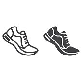 istock Running shoes line and glyph icon, fitness and sport, gym sign vector graphics, a linear pattern on a white background, eps 10. 898039038
