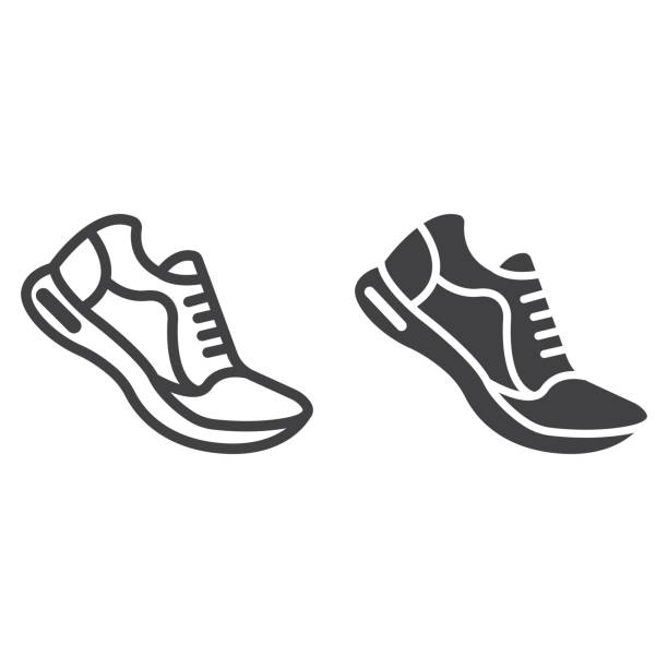 linia butów do biegania i ikona glifów, fitness i sport, grafika wektorowa znaku siłowni, liniowy wzór na białym tle, eps 10. - but sportowy stock illustrations