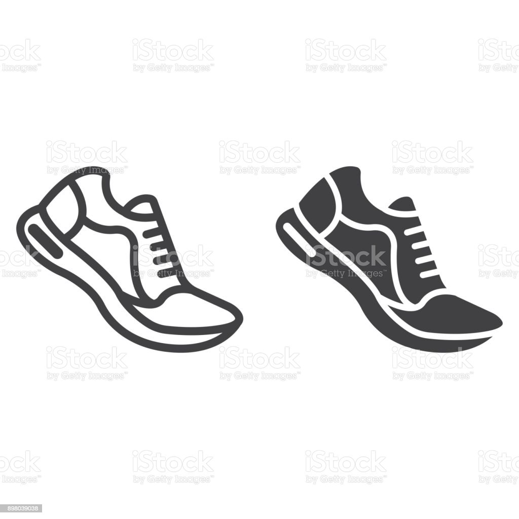 Running shoes line and glyph icon, fitness and sport, gym sign vector graphics, a linear pattern on a white background, eps 10. vector art illustration