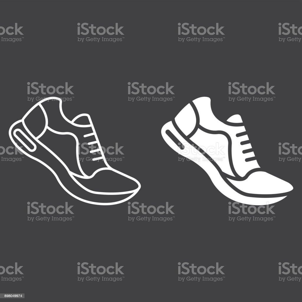 Línea de zapatillas e icono de glifo, fitness y deporte, gimnasio signo vector graphics, un patrón linear sobre un fondo negro, eps 10. ilustración de línea de zapatillas e icono de glifo fitness y deporte gimnasio signo vector graphics un patrón linear sobre un fondo negro eps 10 y más vectores libres de derechos de actividad al aire libre libre de derechos