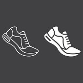Running shoes line and glyph icon, fitness and sport, gym sign vector graphics, a linear pattern on a black background, eps 10.