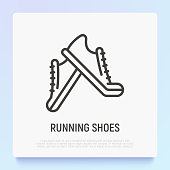 istock Running shoes thin line icon. Vector illustration of sneakers. 1178740359