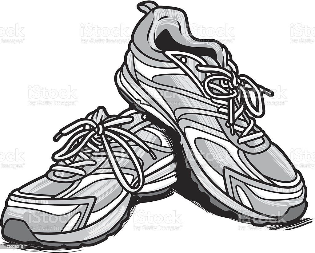 running shoes stock vector art more images of cut out 479628215 rh istockphoto com running shoe footprint vector running shoe sole vector