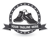 Vector of Running Shoes with Tagline Icon Banner