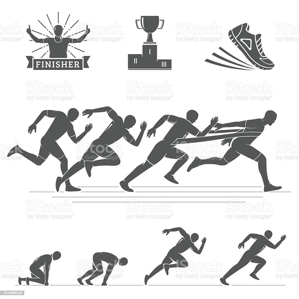 Running silhouettes set. Run club labels, emblems and design elements. ベクターアートイラスト