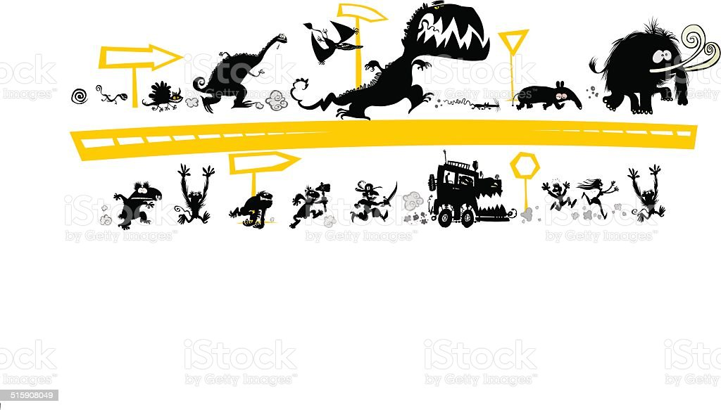 Running Silhouettes vector art illustration