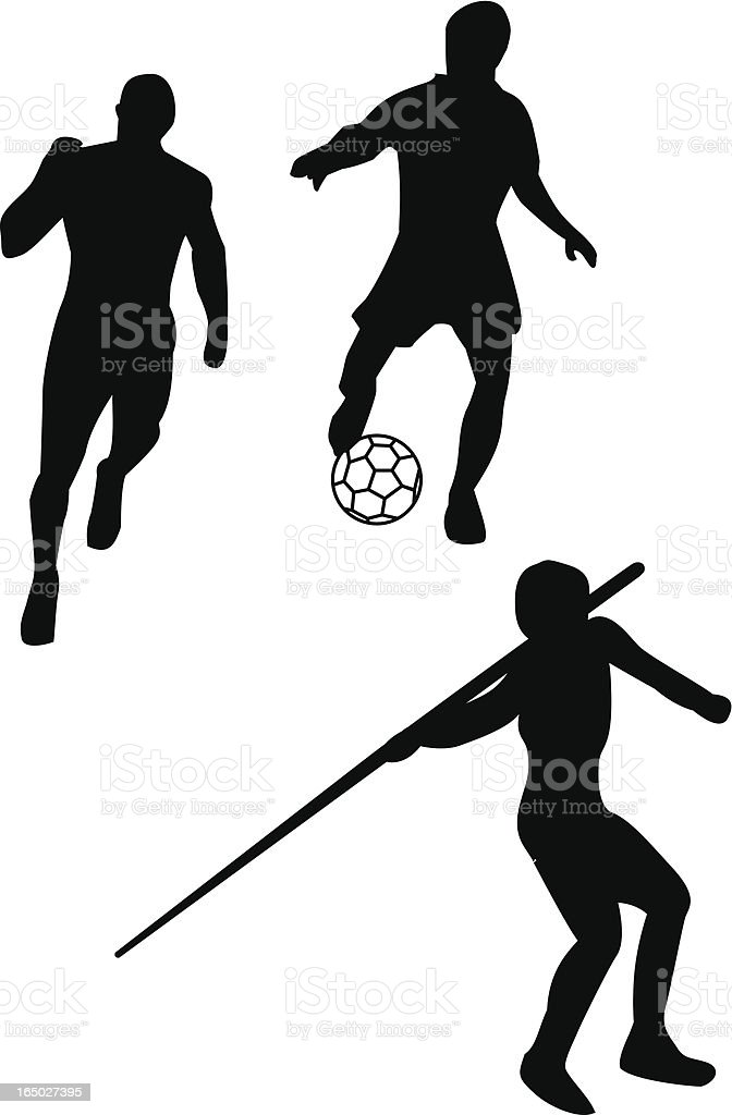 Running, soccer and Javelin royalty-free stock vector art
