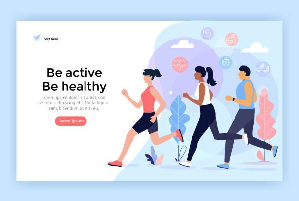 Running sport people. Running sport people, be active, healthy lifestyle concept illustration, perfect for web design, banner, mobile app, landing page, vector flat design race distance stock illustrations