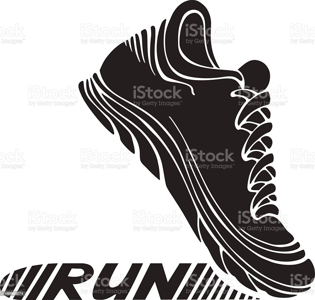 Running sport shoe symbol. vector art illustration