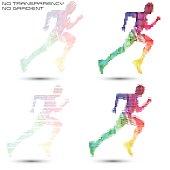 Running sportsman, pixel work vector illustrations