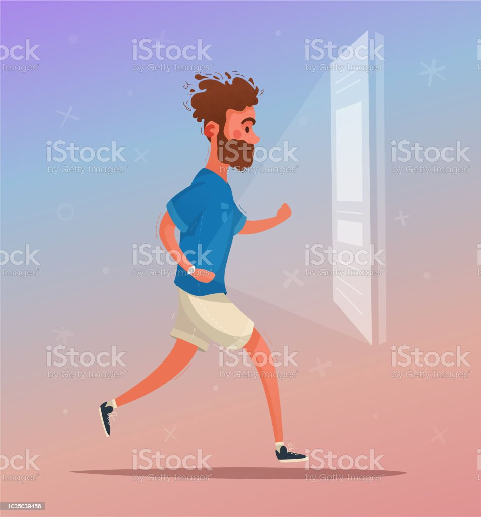 Running. Sporty character. Cartoon vector illustration vector art illustration