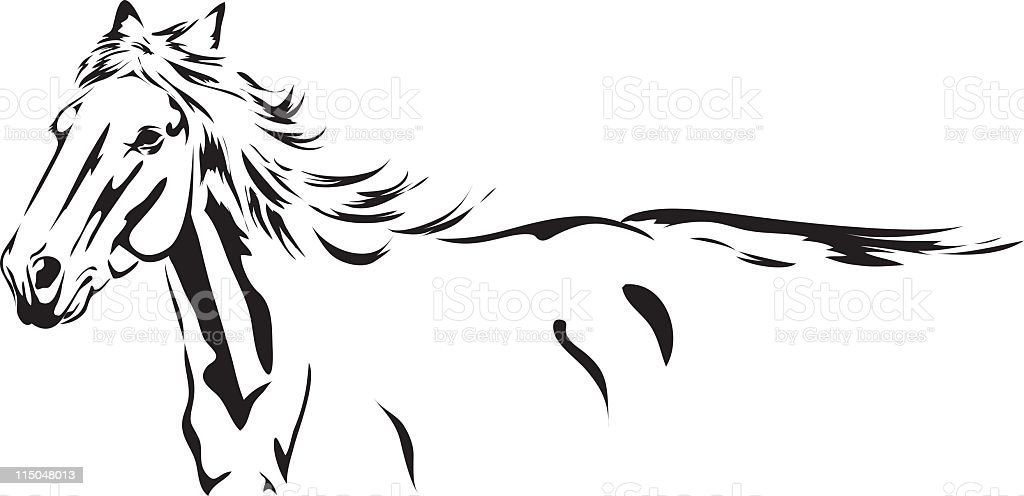 Running Stallion black Ink Sketch drawing isolated on white vector art illustration