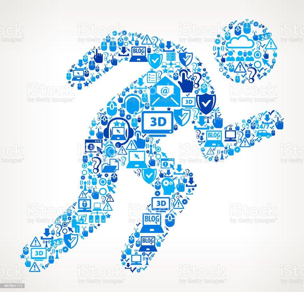 Running  Tech Support Vector Icon Pattern vector art illustration