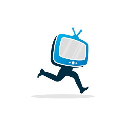 Running Television Logo Template Design Vector, Emblem, Design Concept, Creative Symbol, Icon