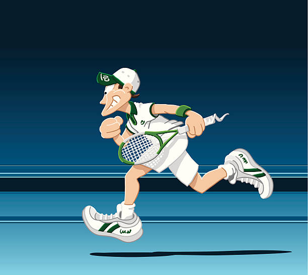 """Running Tennis Player """"Vector Illustration of a running tennis player. The background is on a separate layer, so you can use the illustration on your own background. The colors in the .eps-file are ready for print (CMYK). Included files: EPS (v8) and Hi-Res JPG."""" tennis stock illustrations"""