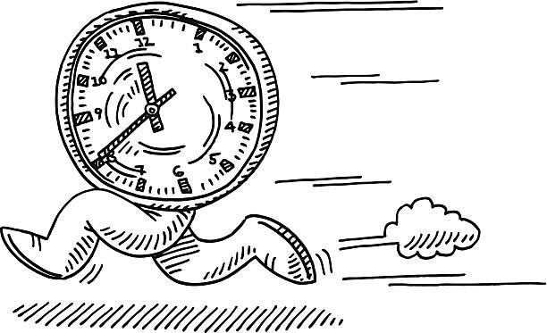 Running Time Concept Drawing Hand-drawn vector drawing of a Running Time Concept, a Clock with Legs is running fast. Black-and-White sketch on a transparent background (.eps-file). Included files are EPS (v10) and Hi-Res JPG. running stock illustrations