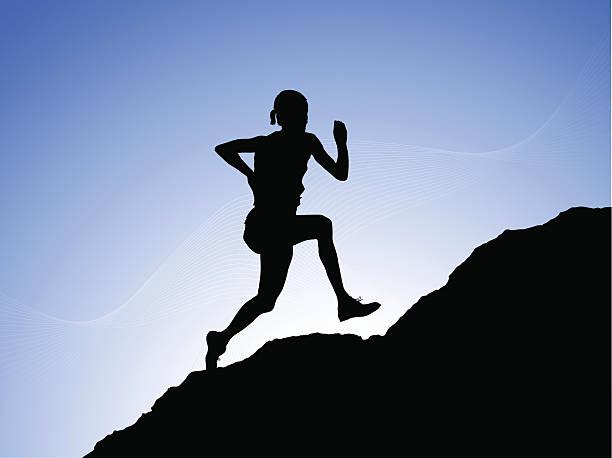 bildbanksillustrationer, clip art samt tecknat material och ikoner med running to the top - jogging hill