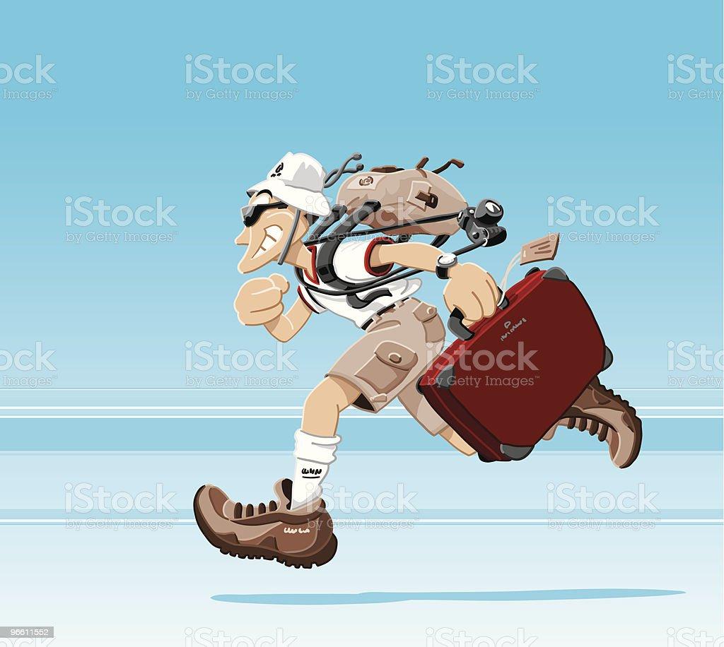 Running Tourist vector art illustration