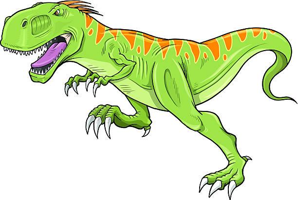 Running Tyrannosaurus Dinosaur vector art illustration