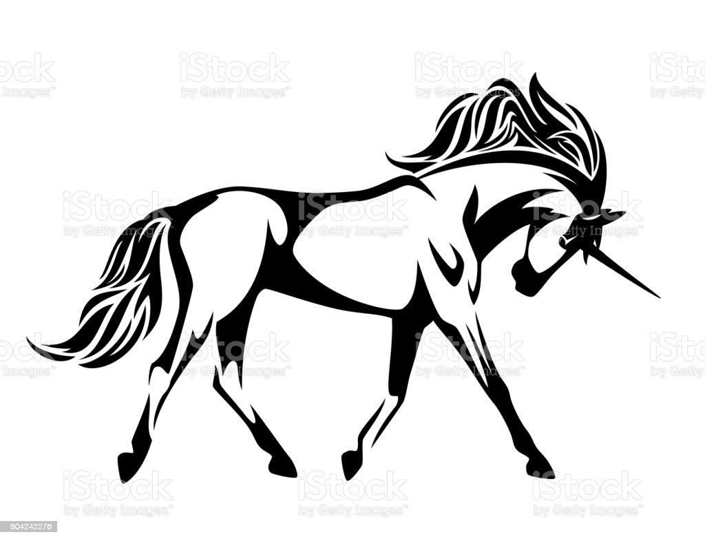 running unicorn horse  vector design vector art illustration
