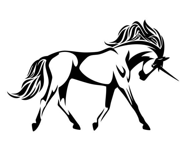 running unicorn horse  vector design vector art illustration