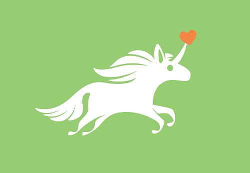 running unicorn with heart symbol