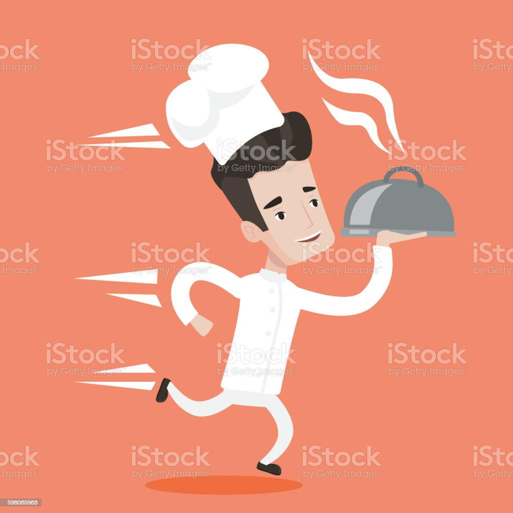 Running waiter vector illustration. royalty-free running waiter vector illustration stock vector art & more images of cartoon