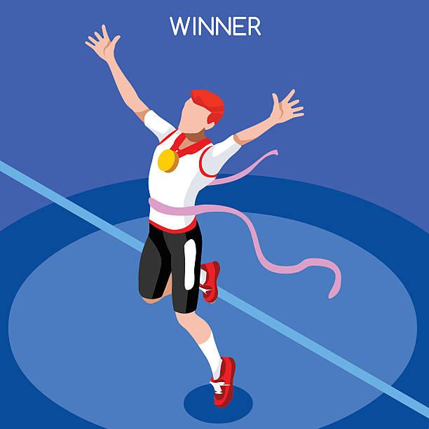 stockillustraties, clipart, cartoons en iconen met running winner isometric athlete winning runner sport concept international competition - sportkampioenschap