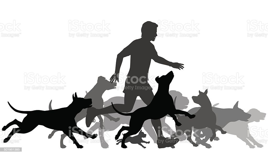 Running with dogs vector art illustration
